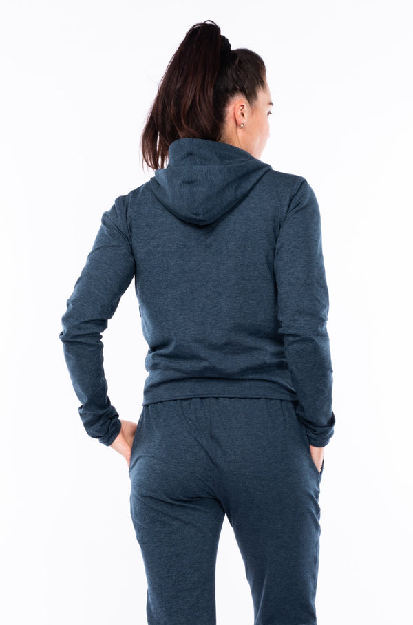 women's ultimate travel hoodie - indigo heather