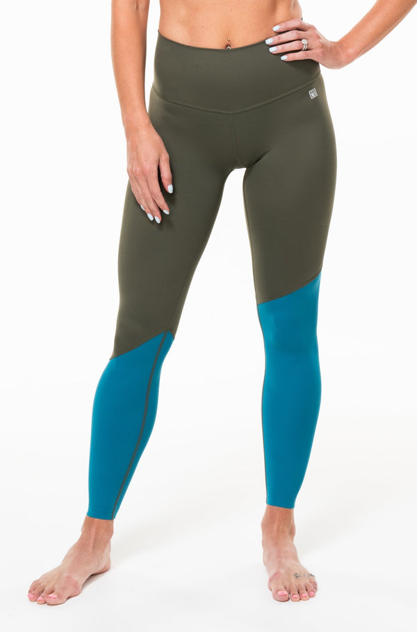 MALO hi rise luxe leggings (no pocket) - Seagrass/Tidepool