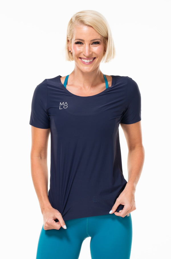 MALO women's edge performance tee- navy