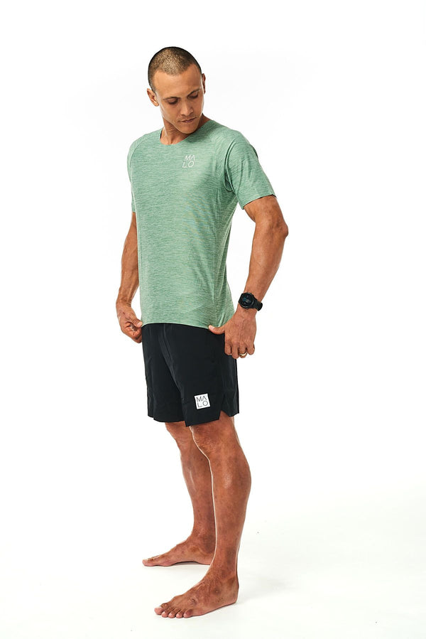 Men's Cool It Tee- Sagebrush. Breathable green workout tee. Sweat-wicking short sleeve shirt.