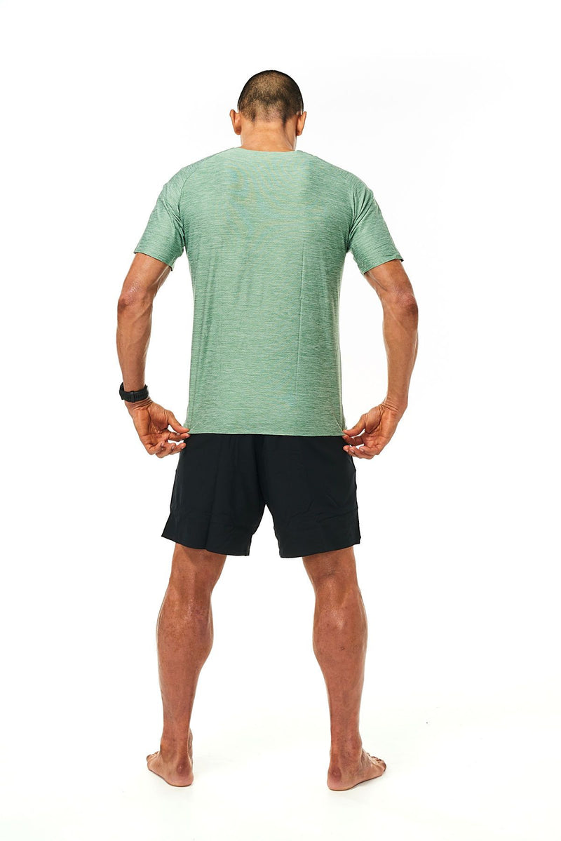 Back view of Men's Cool It Tee. Green sweat-wicking running shirt. Workout shirt with ventilation.