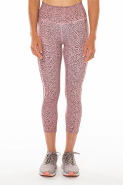 Baby Cheetah Pacer 3/4 Leggings. Pink cheetah print athleisure leggings.