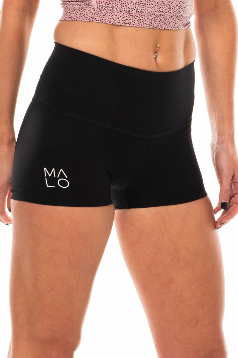 Right view Women's Black PR Shorts. Black short shorts for running, yoga, gym, and casual wear.