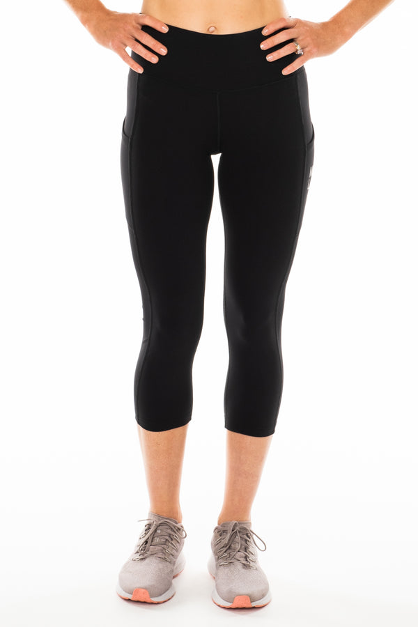 Black Pacer 3/4 Leggings. Black athleisure leggings.