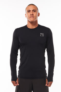 Men's Endure Long Sleeve Shirt. Black performance tee. Running shirt with thumb holes.