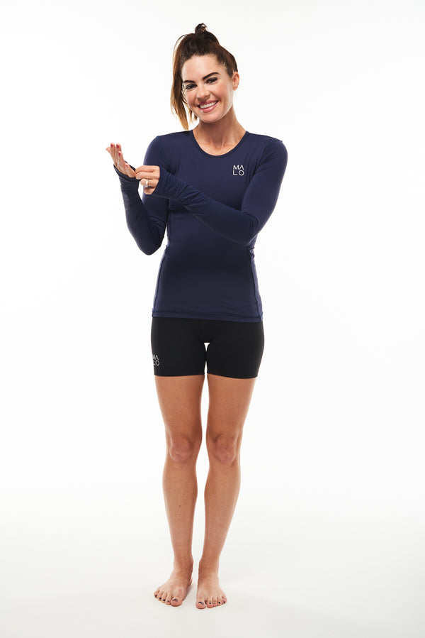Women's long sleeve running shirt. Breathable performance tee.