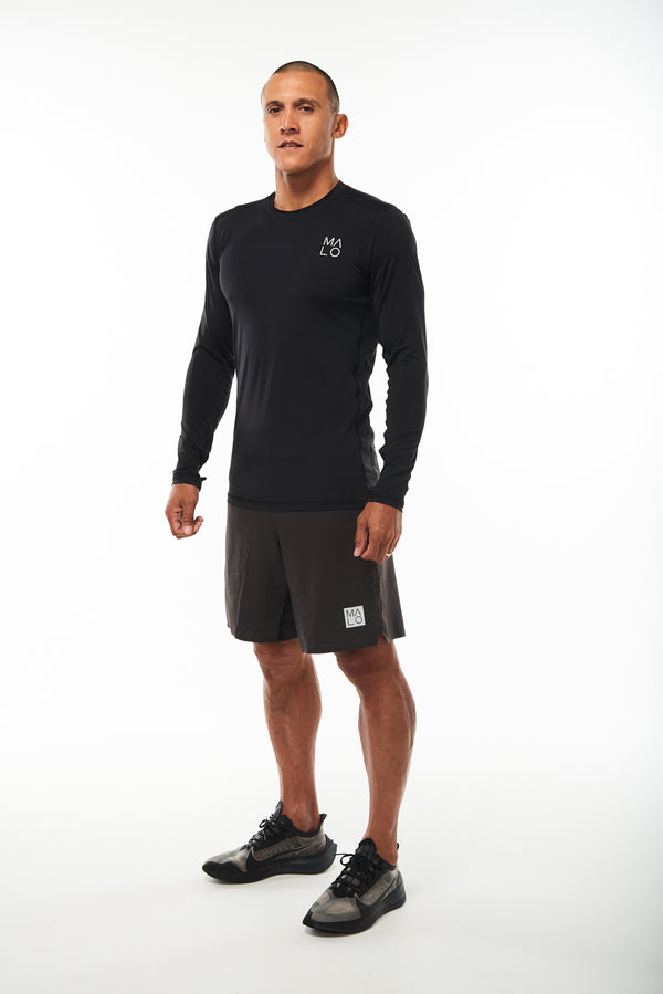 Men's Endure Long Sleeve. Black long sleeve shirt for running. Lightweight workout shirt.