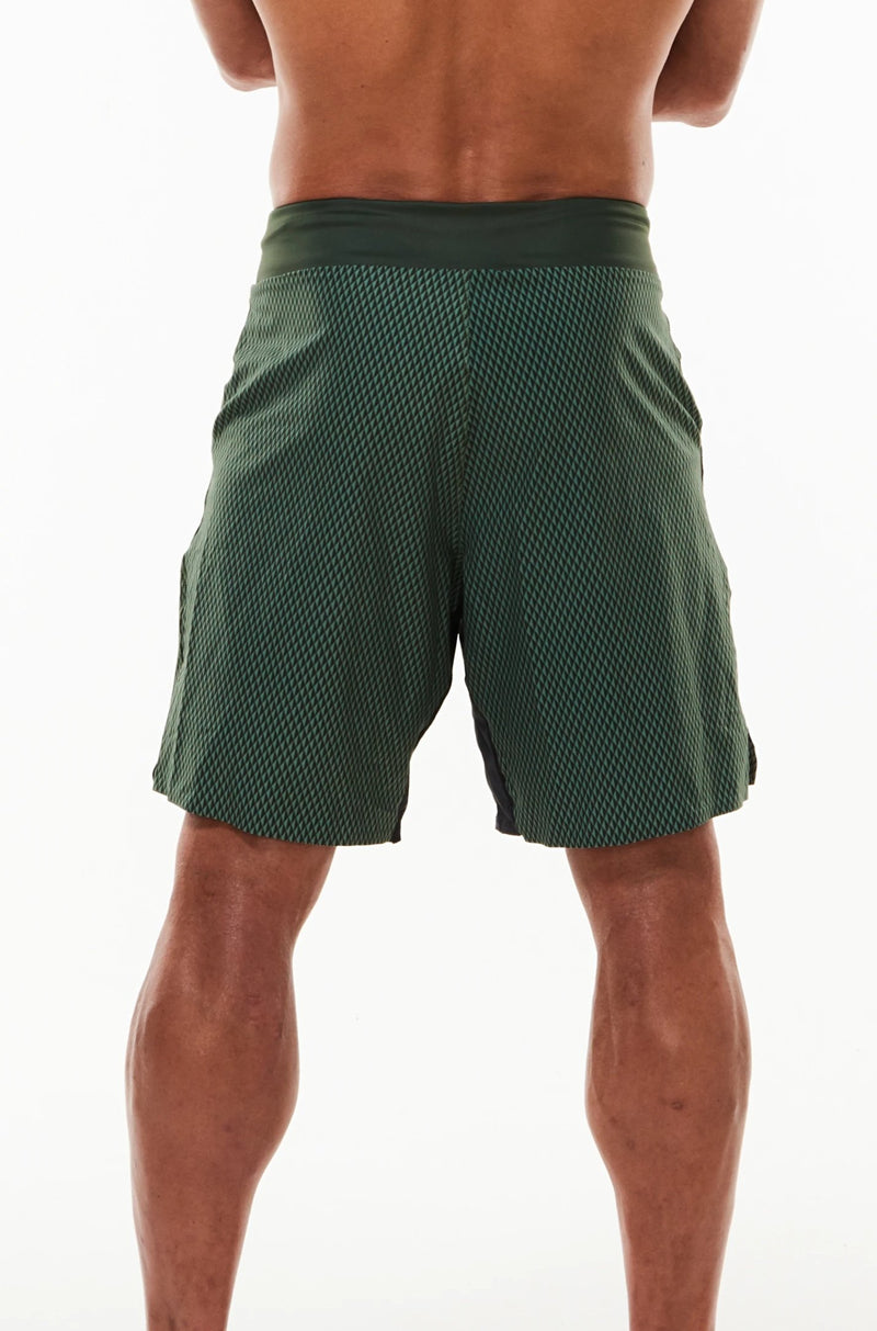 Back view of Arvo Shorts. Above the knee green workout shorts. Green athleisure shorts.