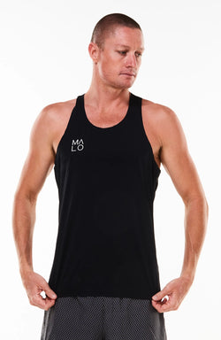 Men's Edge Performance Tank. Seamless black singlet. Sleeveless top.