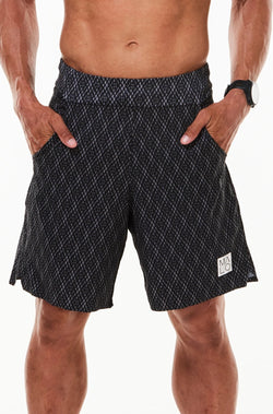 Men's Black Motif Arvo Shorts. Black and grey diamond print shorts with 9.5 inseam. Unlined workout shorts.