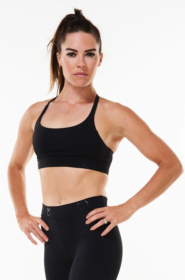 EcoActive Black Sunshine Bra. Black sports bra with moderate coverage and medium support.