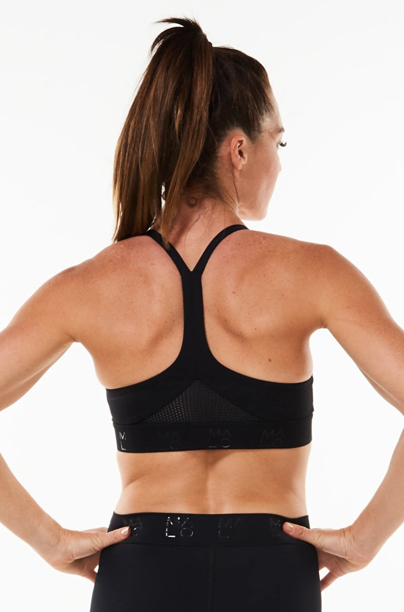 Back view Black Sunshine Bra. Environmentally friendly sports bra with mesh panels.