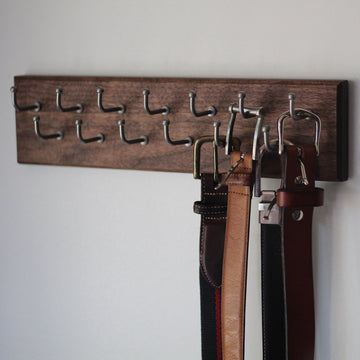 Custom walnut Belt rack