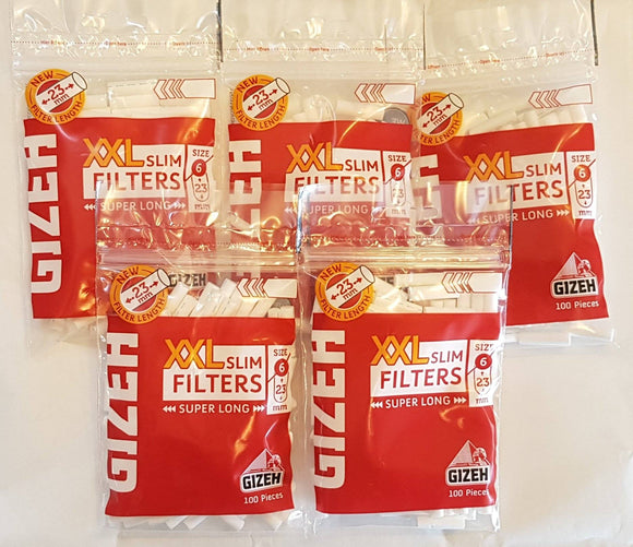 Gizeh Slim Cigarett Filters Xxl 6/23Mm Super Long Lot Of 5 Bags 100 - Filter Tips
