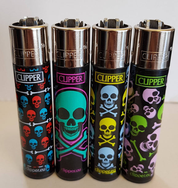 4 Clipper Lighters Color skulls collection full series refillable lighters - benz-market