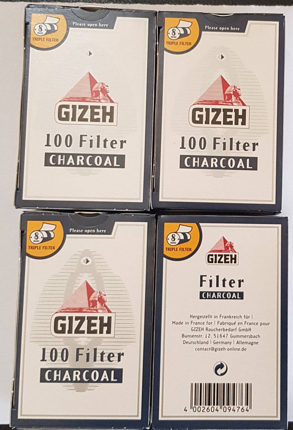 GIZEH slim filters 8mm lot of 4x100  CHARCOAL ACTIVE SYSTEM - benz-market