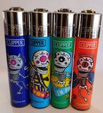 4 Clipper Lighters Back To Skull 3 Collection Unused Refillable - benz-market