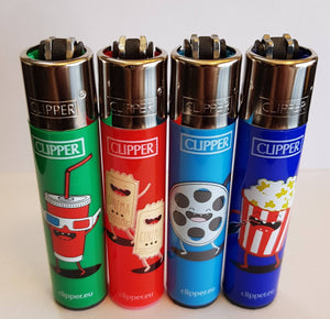 4 Clipper Lighters Movie theater 1 Collection Unused Refillable - benz-market