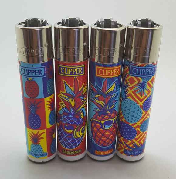 Brand new 4 Clipper Lighters Hipster Pineapple Collection Unused Refillable - benz-market