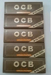 OCB Natural Medium 1 1/4 slim rolling paper+filter tips unbleached lot of  5 booklets