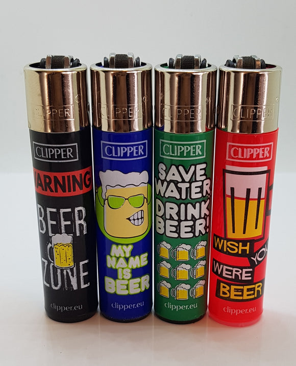 Brand New 4 Clipper Lighters  Happy Beer Collection Unused Refillable Lighters