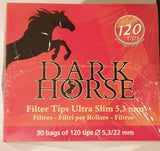 Brand New Dark Horse Cigarette Filter Tips 5.3/22 mm Long Box of 30x120 Bags