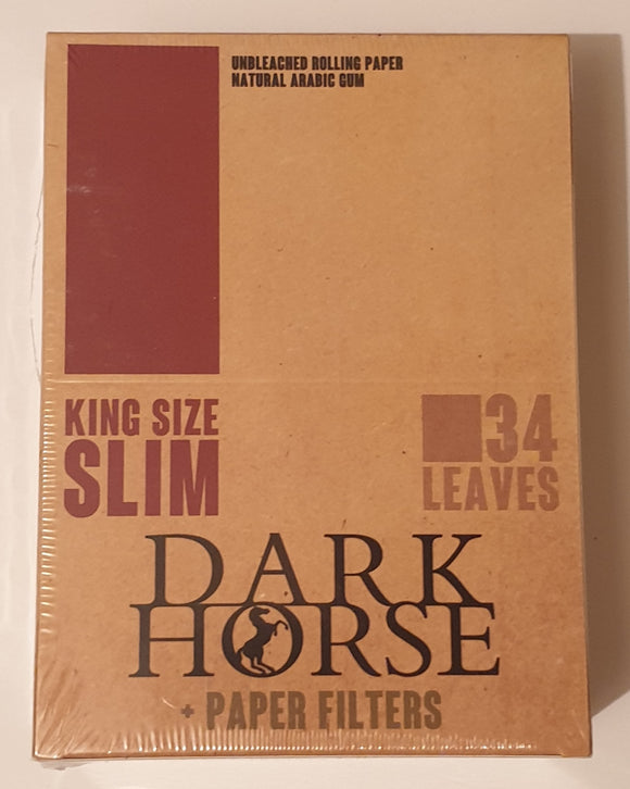 New Dark Horse King Size Slim Rolling Papers+Tips Unbleached 24x34 Booklets