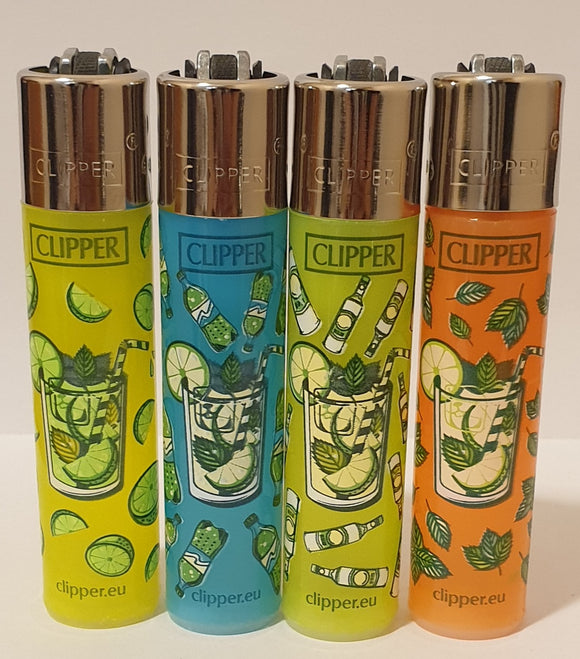 Brand New 4 Clipper Lighters Mojito Collection Full Set Refillable Original