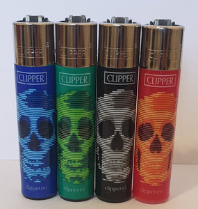 Brand New 4 Clipper Lighters Blurry Skulls Collection Full Set Refillable