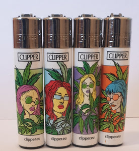 Brand New 4 Clipper Lighters Grass 6 Collection Full Set Refillable