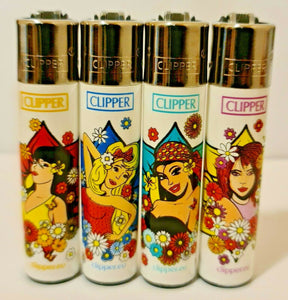 Brand New 4 Clipper Lighters Natural Spring 1 Collection Full Set Refillable