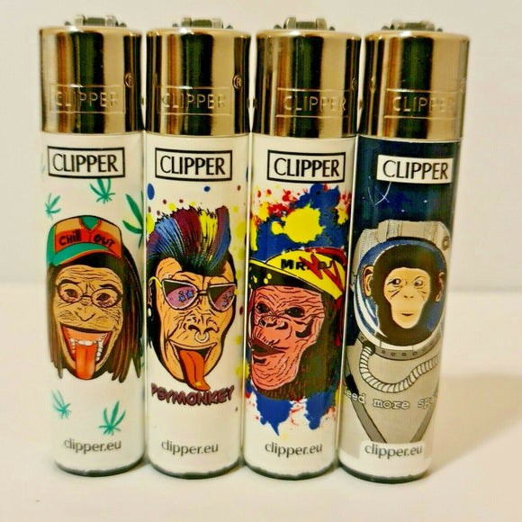 Brand New 4 Clipper Lighters Monkeys Collection Full Set Refillable