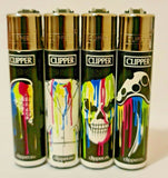 Brand New 4 Clipper Lighters Melt Psycho Collection Full Set Refillable