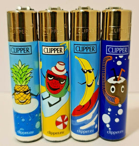 Brand New 4 Clipper Lighters Summer Fruit collection full series refillable lighters