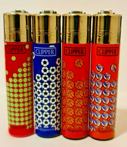 Brand New 4 Clipper Lighters Sport Collection Full Set Refillable