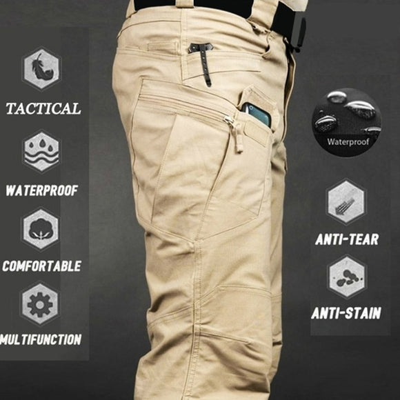 Mens Camouflage Cargo Pants Elastic Multiple Pocket