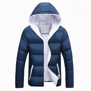 Men Winter Casual Outwear Windbreaker Solid Slim Fit Hooded