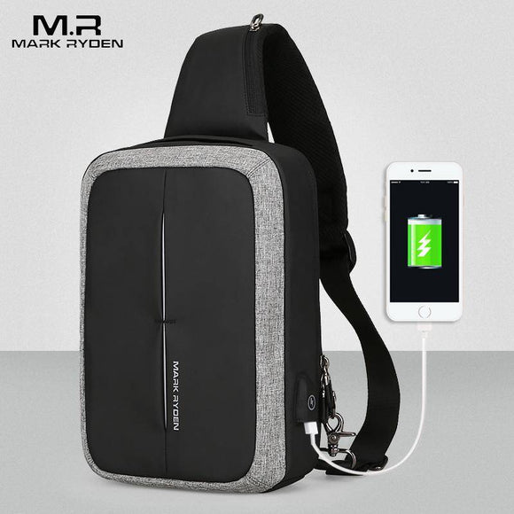 MR Crossbody Bag Business Shoulder bag High Capacity Chest Bag USB Recharging Design - benz-market