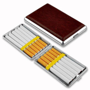 WITUSE PU Cigarette Case Box Can Hold 10 12 14 16 18 20PCS Retail New 2017 Classic Leather Alloy Metal Holder - benz-market