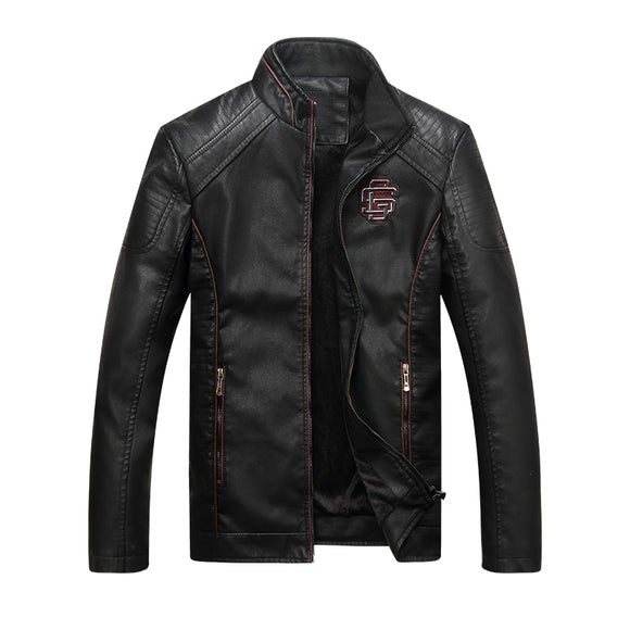 Men Leather Jacket Motorcycle PU Leather