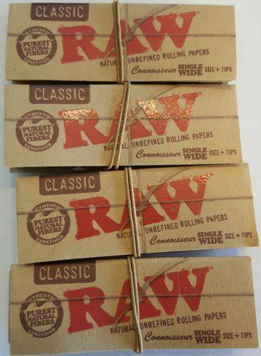 Lot Of 4 Booklets Raw Natural Unrefined Rolling Papers Small + Filters - Rolling Papers