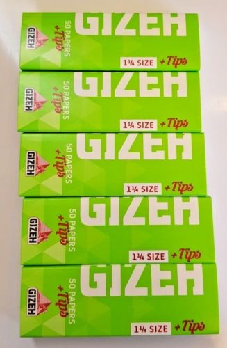 Brand New Gizeh Slim Rolling Papers 5x50 Booklets+Tips Medium 1 1/4 Super Fine - benz-market