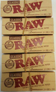 Lot Of 5 Booklets Raw Natural Unrefined Rolling Papers 1 1/4 + Filters - Rolling Papers