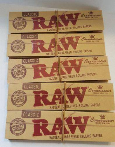 Lot Of 5 Booklets Raw Natural Unrefind Rolling Paper Classic King Size Slim+Tips - Rolling Papers