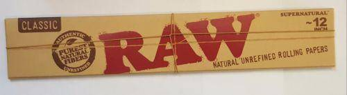 Raw 12 Inch Natural Rolling Papers 20 Leaves Super Size Papers - Rolling Papers