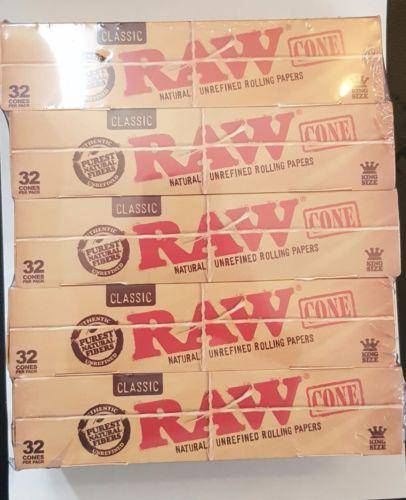 Raw Pre Rolled Cones Natural Unrefined Rolling Papers 32X15 King Size