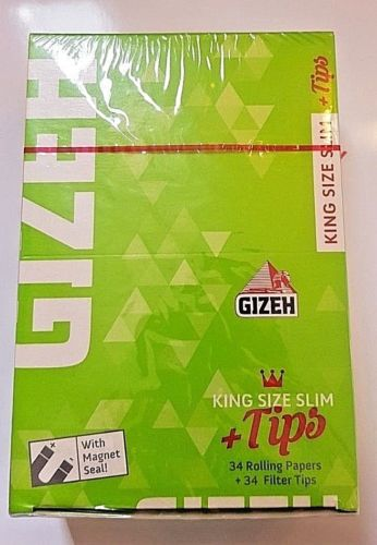 Brand New Gizeh Slim King Size+Tips Rolling Papers 26x34 Booklets 12.0 g/m Super Fine - benz-market