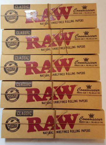 Lot Of 5 Booklets Raw Natural Unrefined Rolling Papers King Siz+Pre Rolled Tips - Rolling Papers