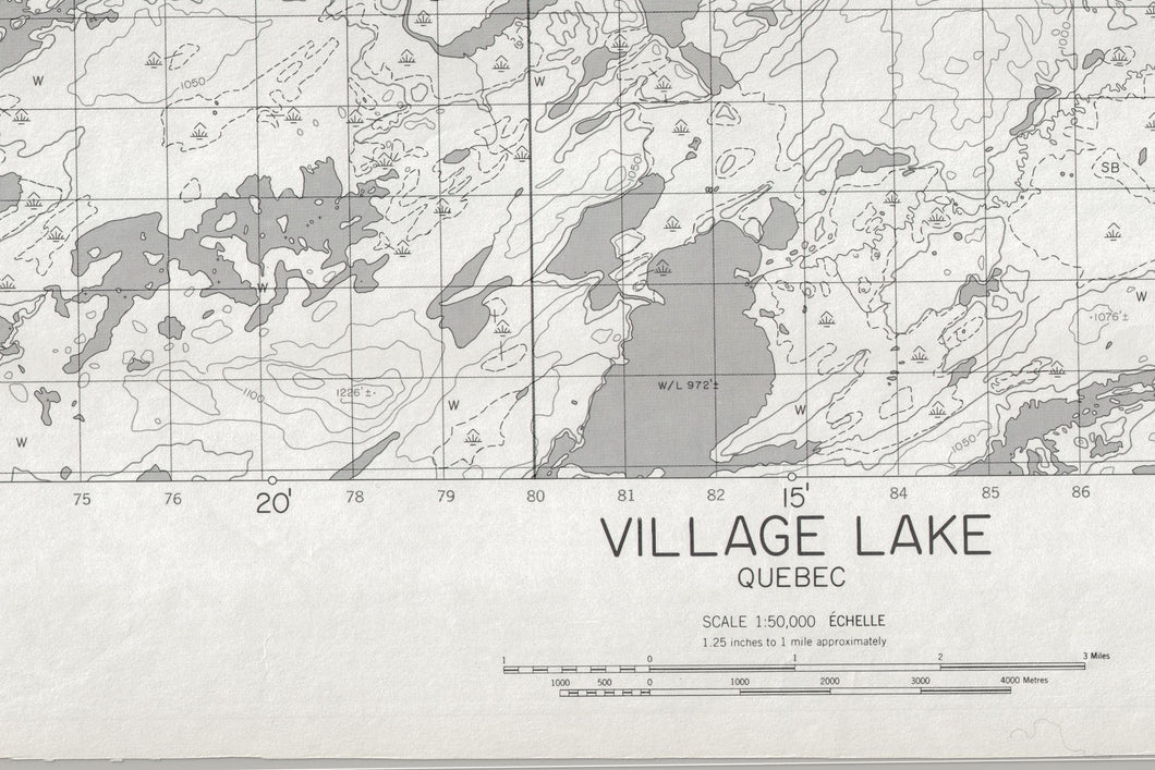 Carte topographique du secteur Village Lake (33 B/3)