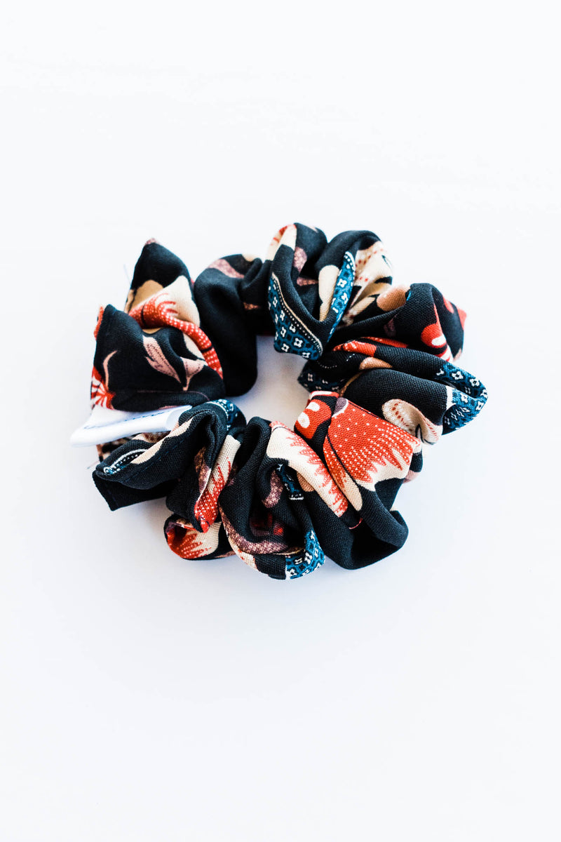 Black Vintage Floral Scrunchie